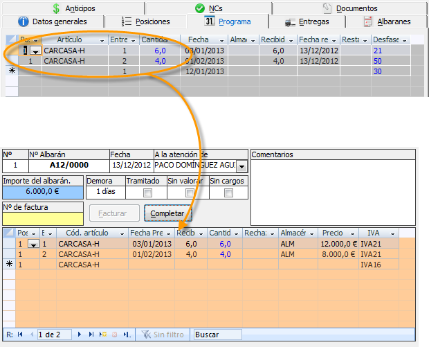 Completar albarán con los datos del programa de entregas