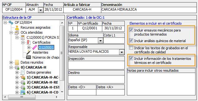 Seleccionar elementos a mostrar en el certificado