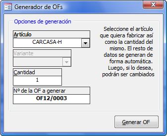Generar nueva OF
