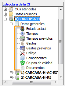 Vista de datos de la OF extendida