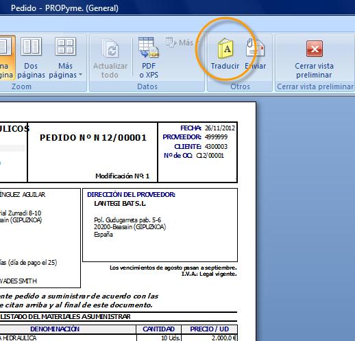 Acceso al formulario de traducción del informe