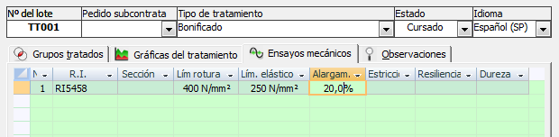 Datos de los ensayos mecánicos